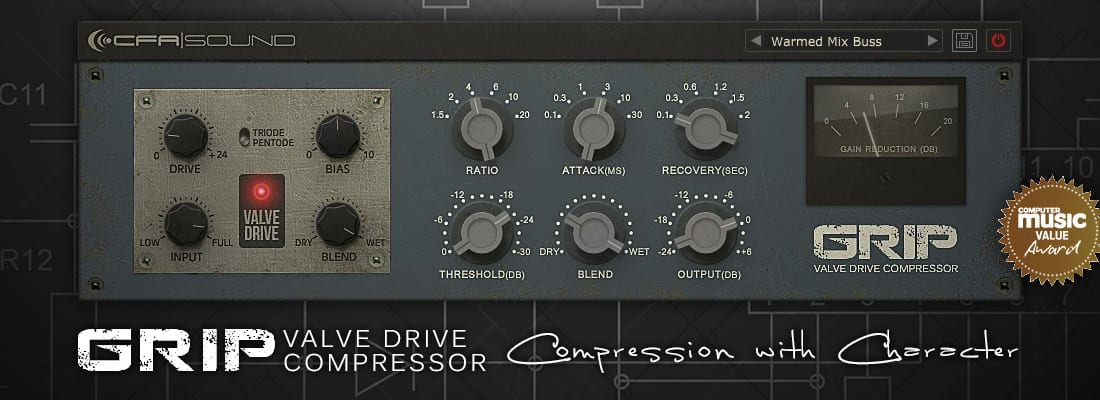CFA-Sound GRIP Valve Drive Compressor - AU/VST Plugin (CM Value Award)