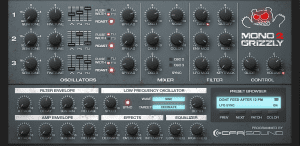 MonoGrizzly 2 – Bass Synthesizer - GUI Blue