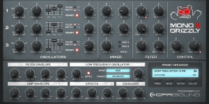 GUI fullsize of a monophonic bass synthesizer