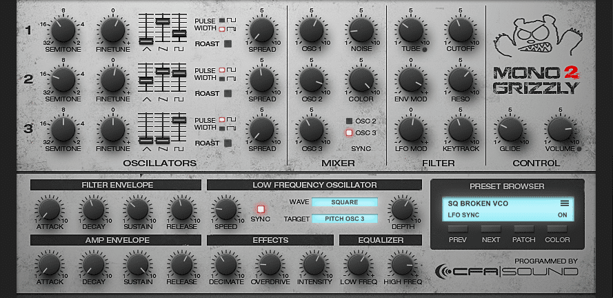 MonoGrizzly 2 – Bass Synthesizer | CFA-Sound