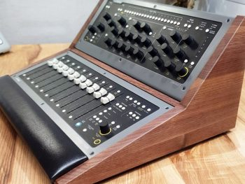 custom wood panels and stands for synthesizer and music production gear
